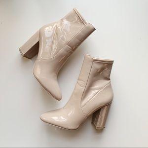Aldo Aurelia Patent Leather Nude Block Heel Boots